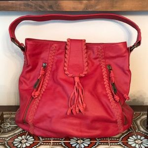 Muxo by Camila Alves Red Leather Slouchy Hobo